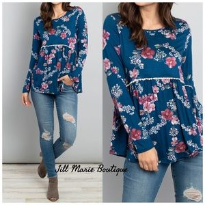 Long sleeve top NWT baby doll blue floral